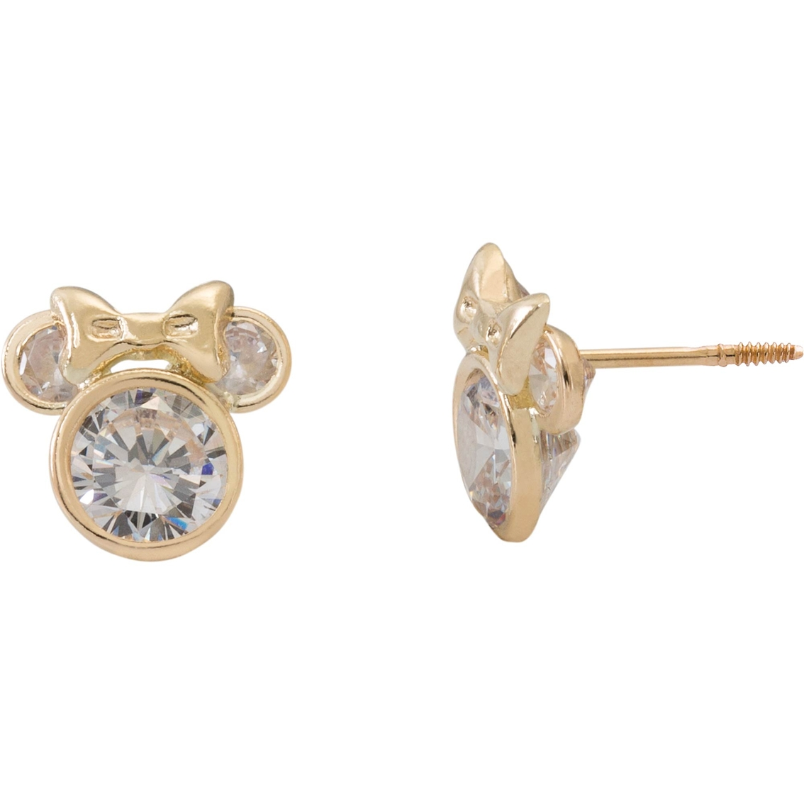 Disney 14k Gold Minnie Mouse Cubic Zirconia Stud Earrings