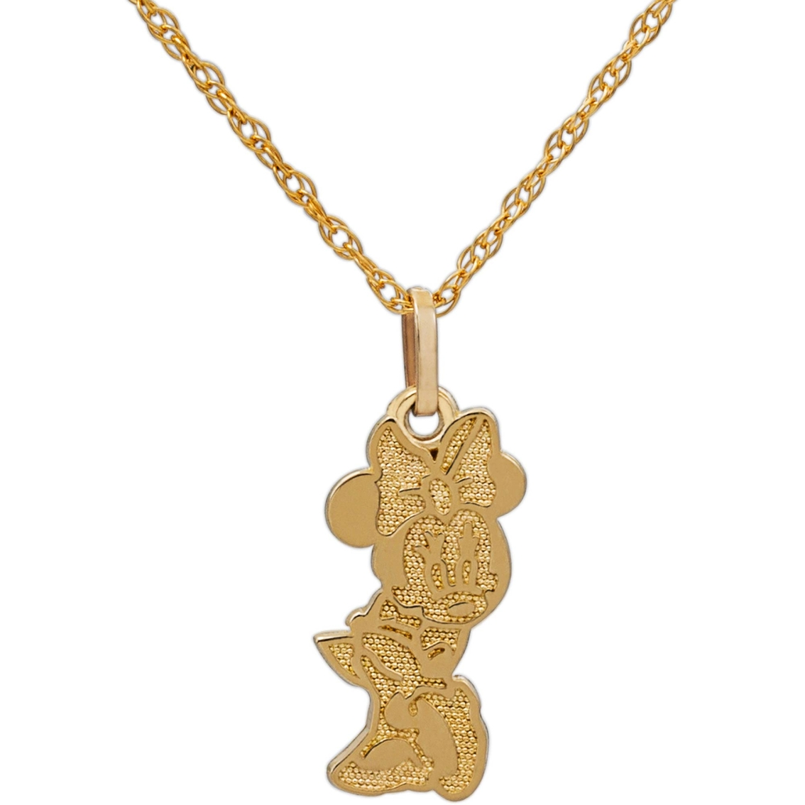 Disney 14K Gold Minnie Mouse Pendant, 15 in.