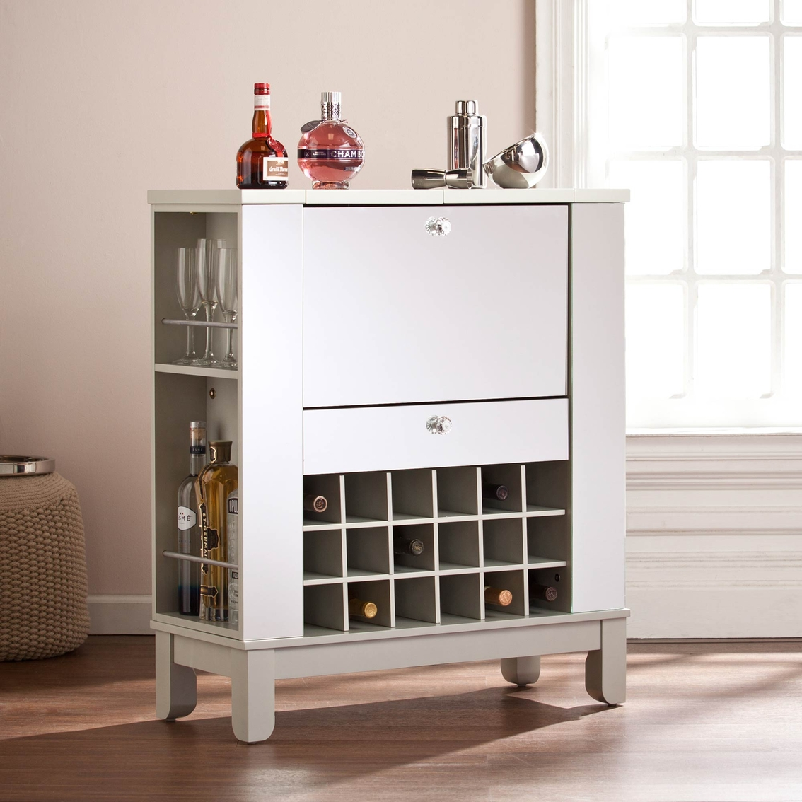 SEI Mirage Mirrored Fold-Out Wine and Bar Cabinet
