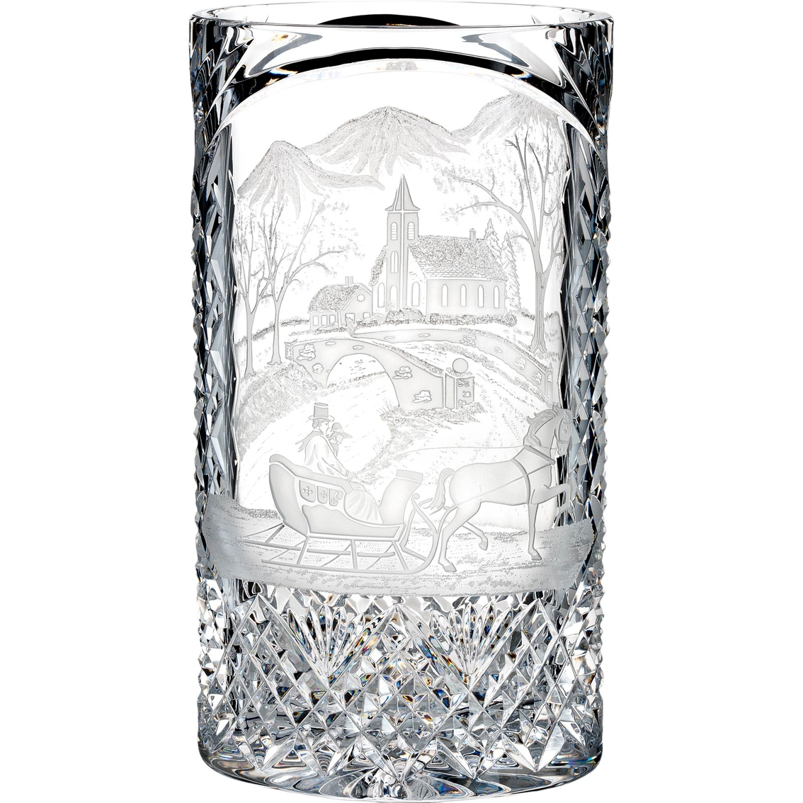 Waterford Crystal Christmas Decor Village Engraved Vase 12 In.