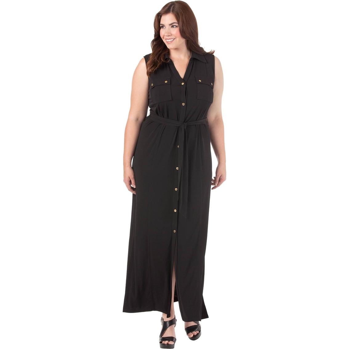 Michael Kors Plus Size Matte Jersey Maxi Shirt Dress ...