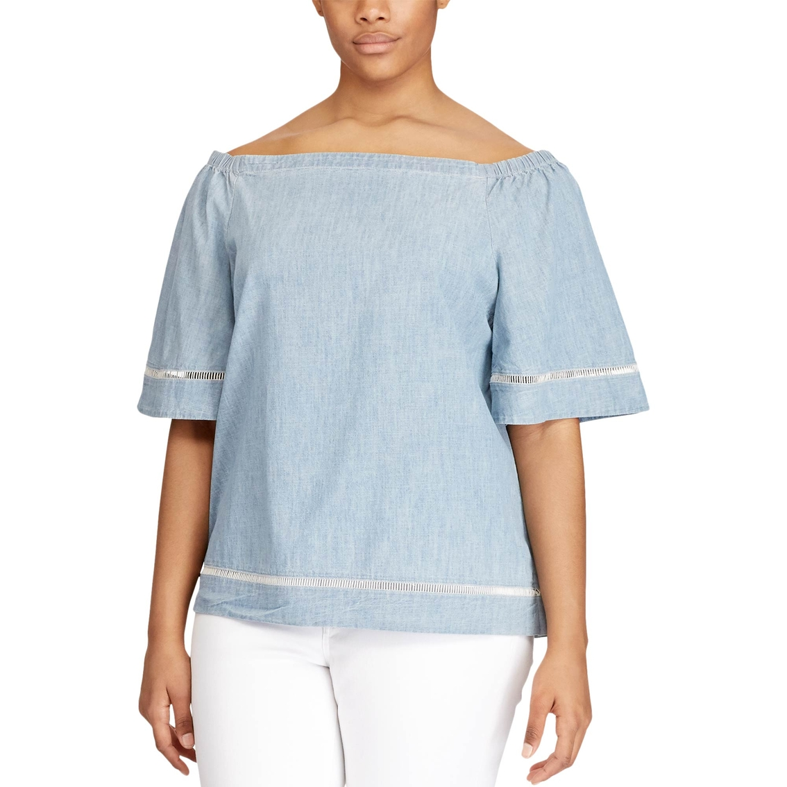 2cadaffd648d5 Lauren Ralph Lauren Plus Size Karleigh Chambray Off The Shoulder Top ...