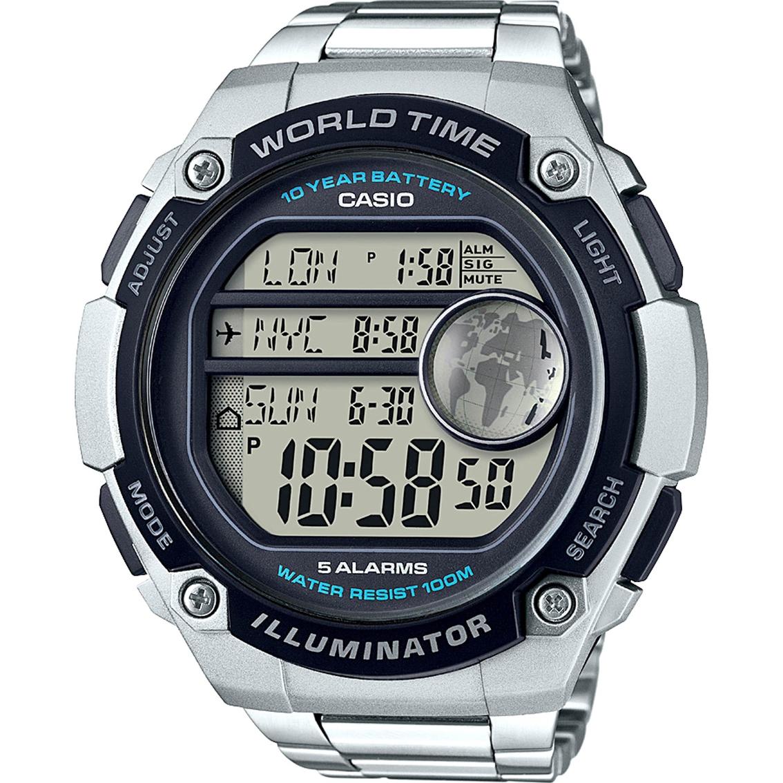 Casio mens large world time illuminator silvertone watch ae3000wd casio mens large world time illuminator silvertone watch ae3000wd 1av gumiabroncs Choice Image