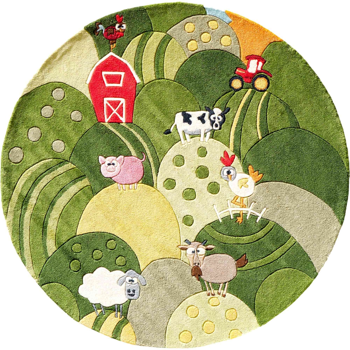 Momeni Lil Mo Whimsy Farm Land 5 Ft Round Rug Rugs Home