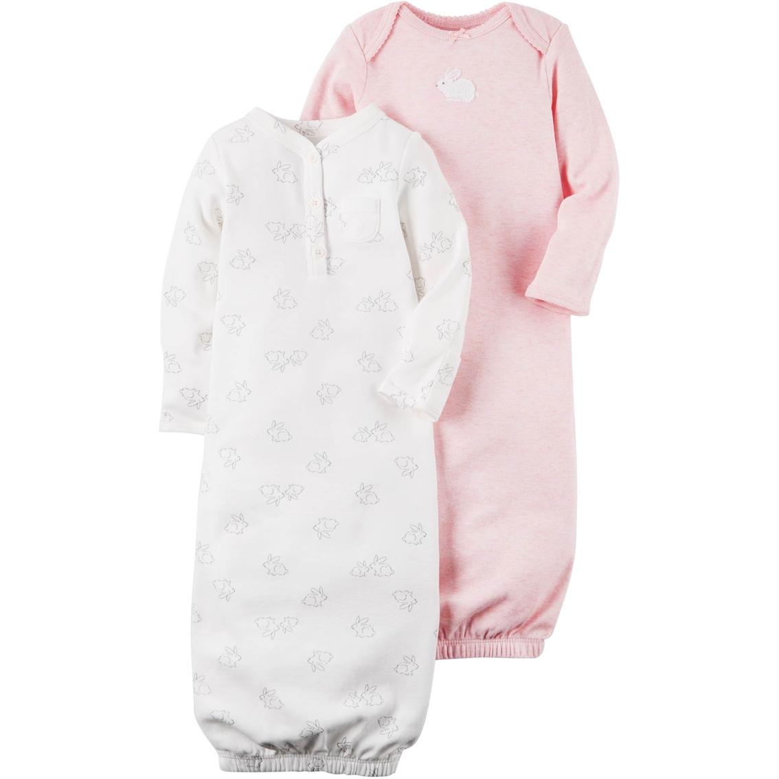 Carter\'s Infant Girls 2 Pc. Babysoft Heathered Sleeper Gown Set ...