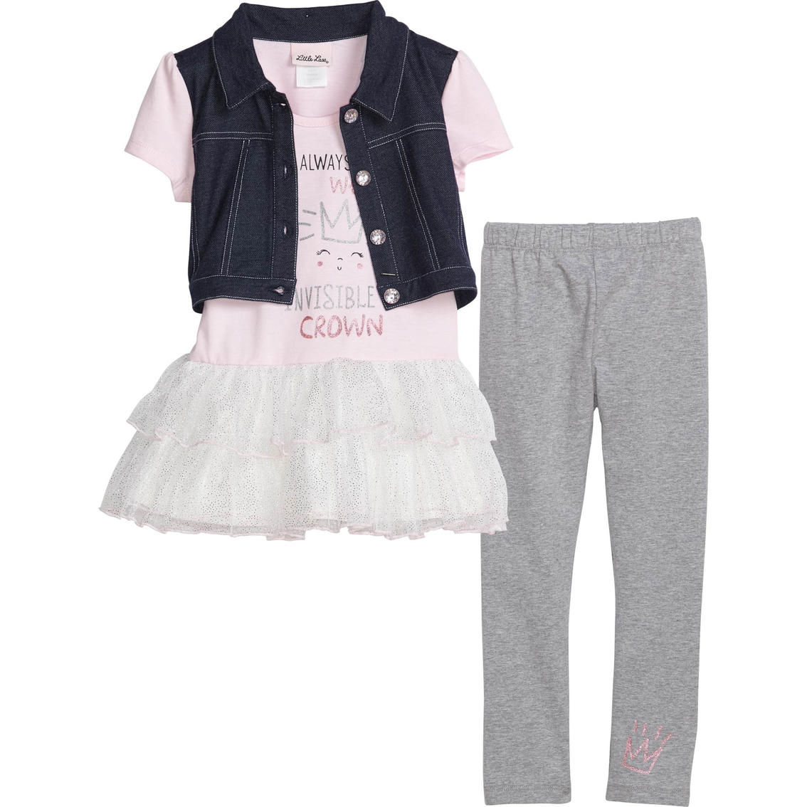 9c0e026788b9 Little Lass Little Girls Mock Vest 2 Pc. Set