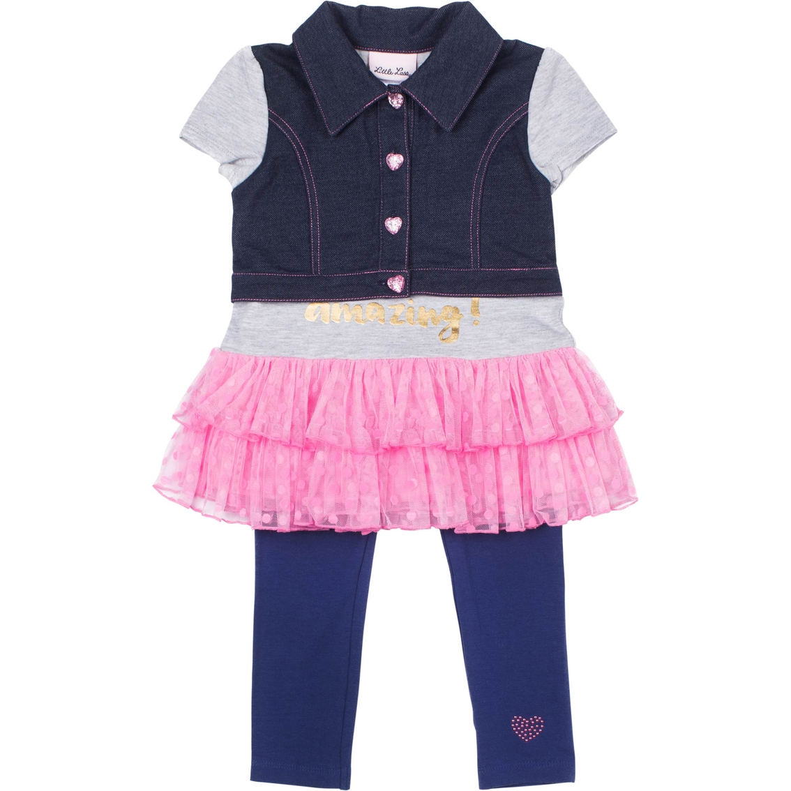 cab8e9c91005 Little Lass Little Girls Mock Denim Vest 2 Pc. Set