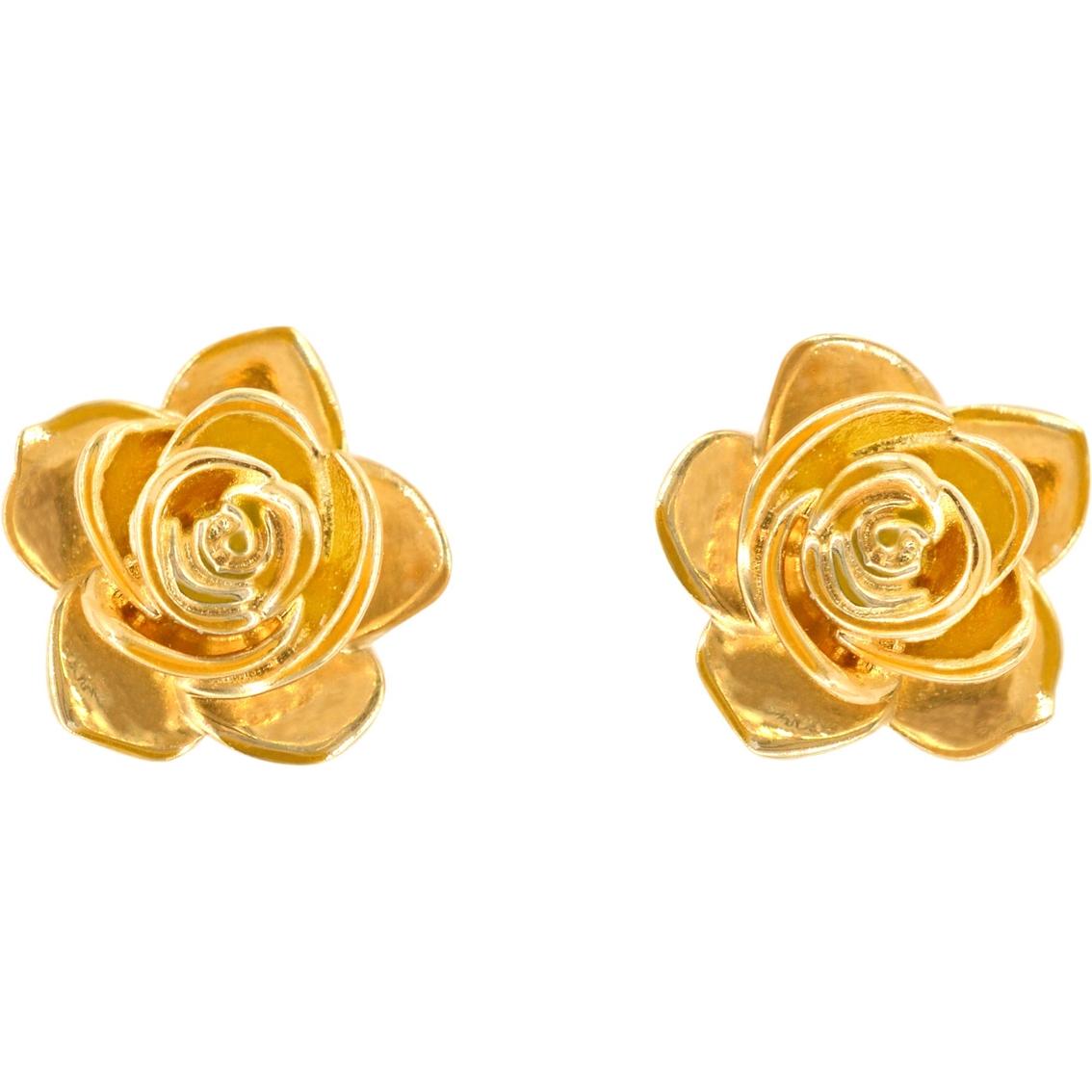 14k Yellow Gold Flower Earrings Gold Earrings Jewelry Watches