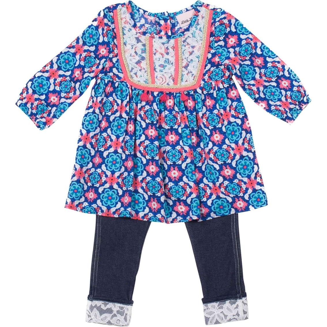 e56ccde05abe2 Little Lass Infant Girls 2 Pc. Lace Trim Leggings Set   Baby Girl 0 ...