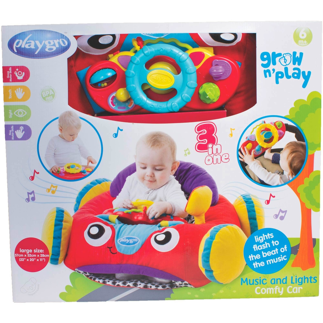 Playgro Music & Lights Comfy Car | Car Seat & Stroller Toys | Baby ...