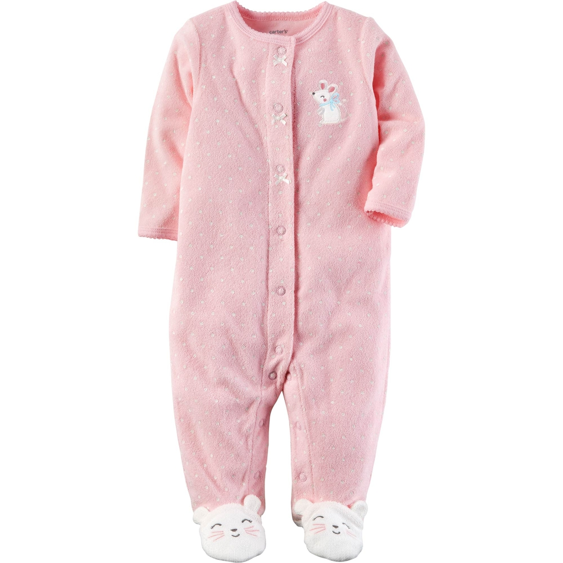 4c7af8883 Carter s Infant Girls Carter s Infant Girls Mouse Snap Terry Footed ...