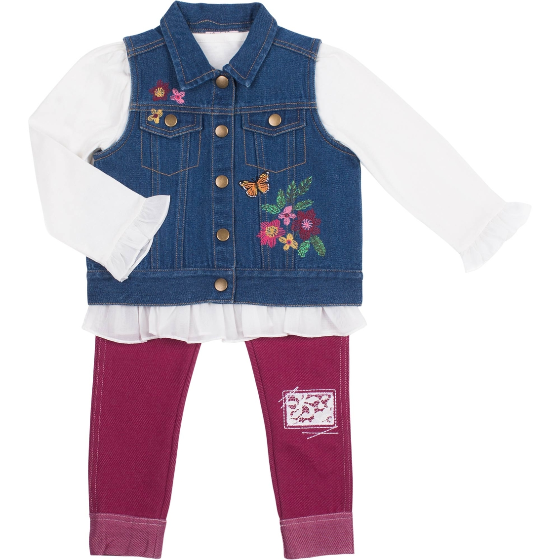 e3f2dd320be4 Little Lass Toddler Girls 3 Pc. Denim Vest Set Embroidery   Toddler ...