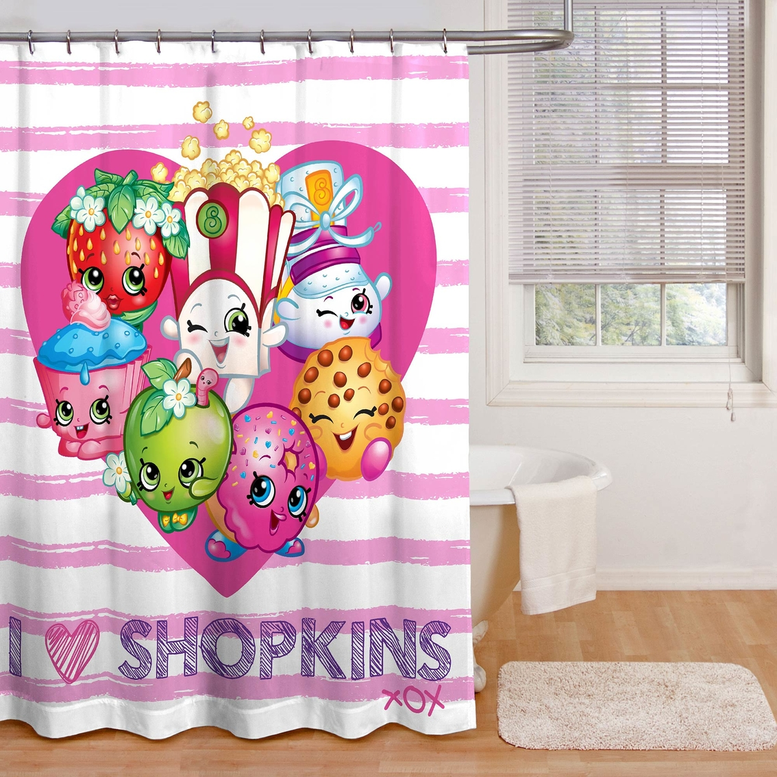Jay Franco And Sons Shopkins I Love Shower Curtain