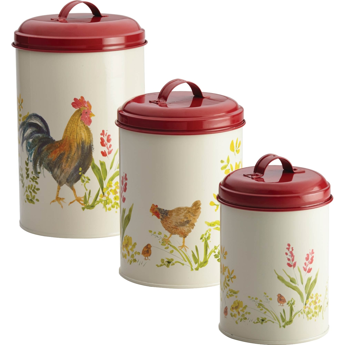 Paula Deen 3 Pc Rooster Canister Set Food Storage