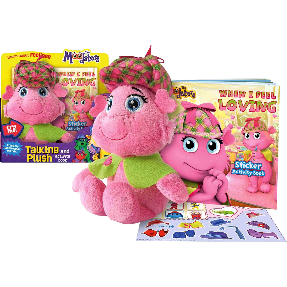 Moodsters Plush With Sound Activity Book Lolly Childrens Books Sticker My Pretty Pink