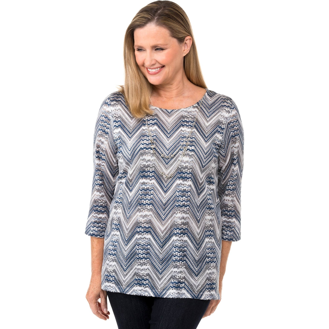 Alfred Dunner Missy Zig Zag Top Blouses Tunics Apparel Shop Blouse
