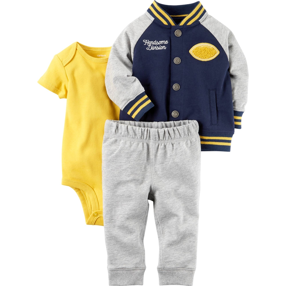 591213262 Carter s Infant Boys French Terry 3 Pc. Cardigan Pant Set