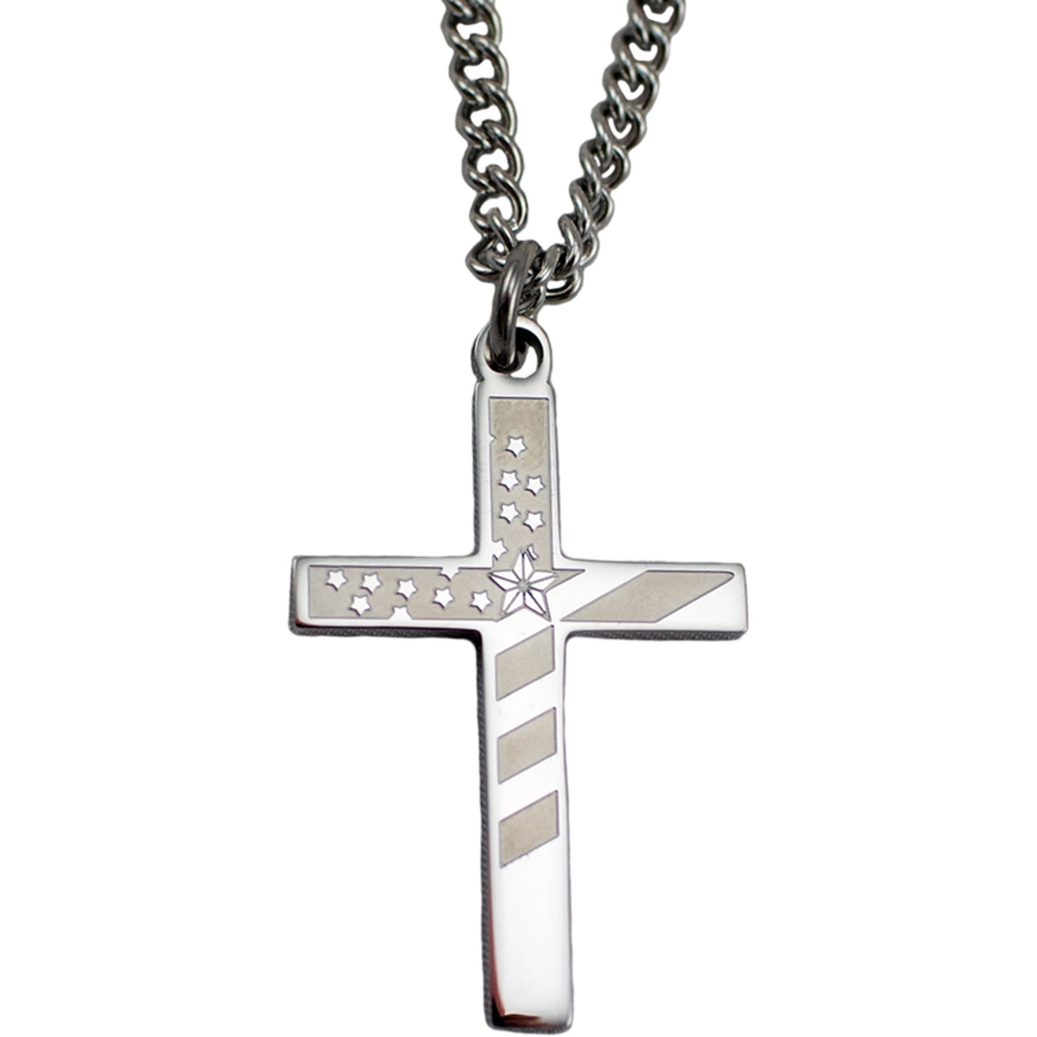 Shields Of Strength Mens Stainless Steel Flag Cross Necklace