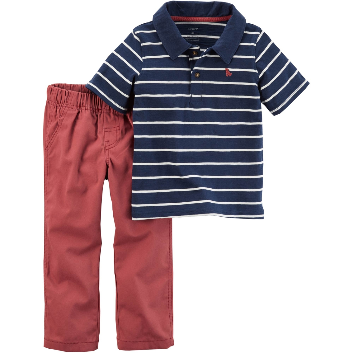 Carters Infant Boys 2 Pc Striped Polo Shirt And Canvas Pants Set