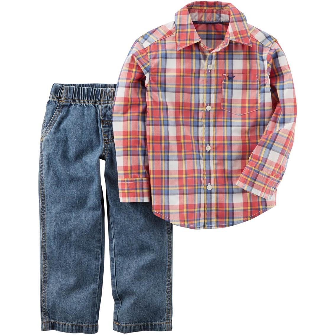 b9b6e888b Carter's Toddler Boys 2 Pc. Plaid Shirt And Denim Pant Set | Toddler ...