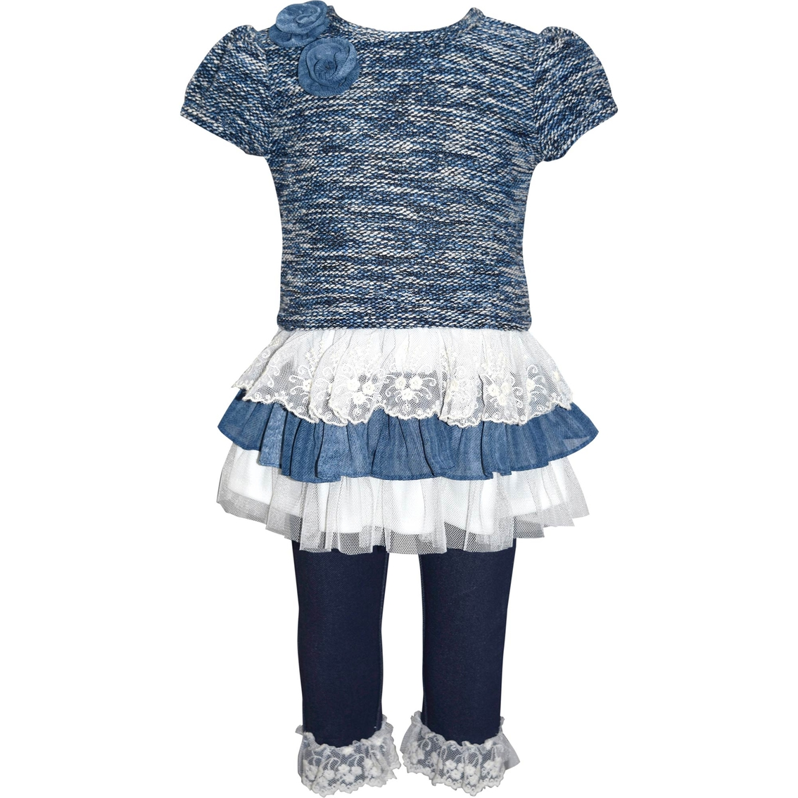 4758c502cc7c Blueberi Boulevard Toddler Girls 2 Pc. Tiered Lace Sweater Dress And ...