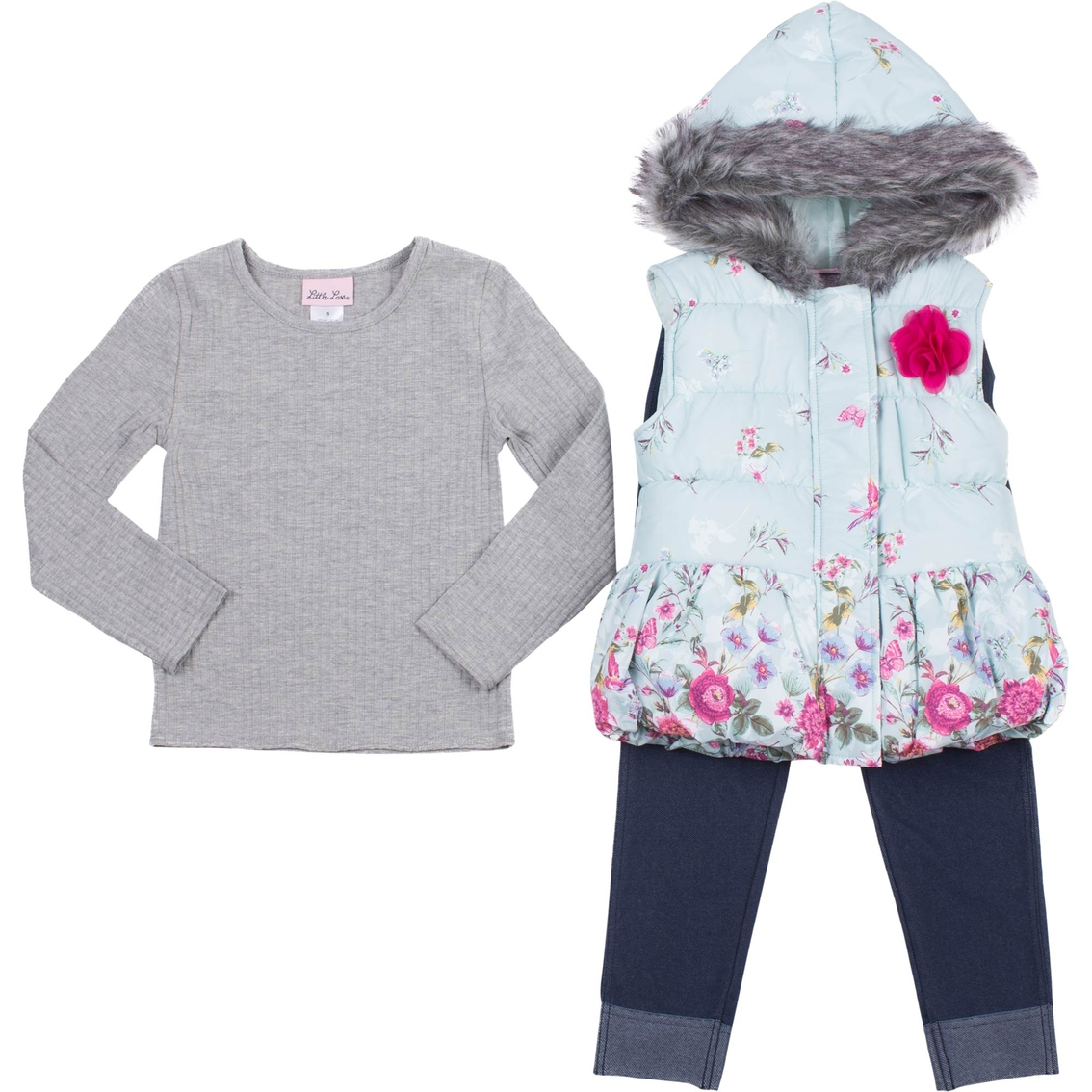 72c7ba0fc1b6 Little Lass Toddler Girls 3 Pc. Floral Puffer Vest Set   Toddler ...