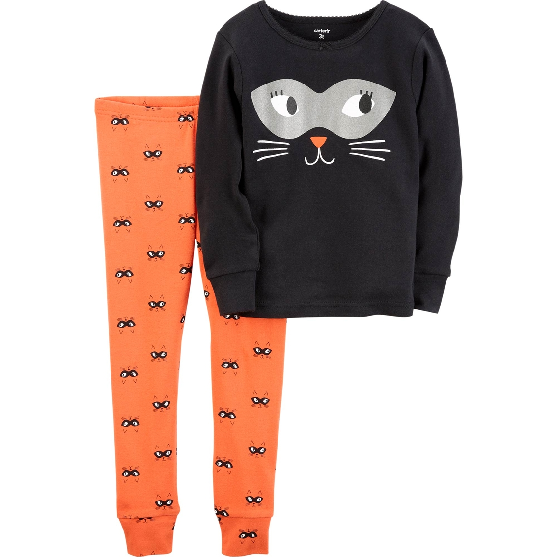 carters infant girls halloween cat face pajama set