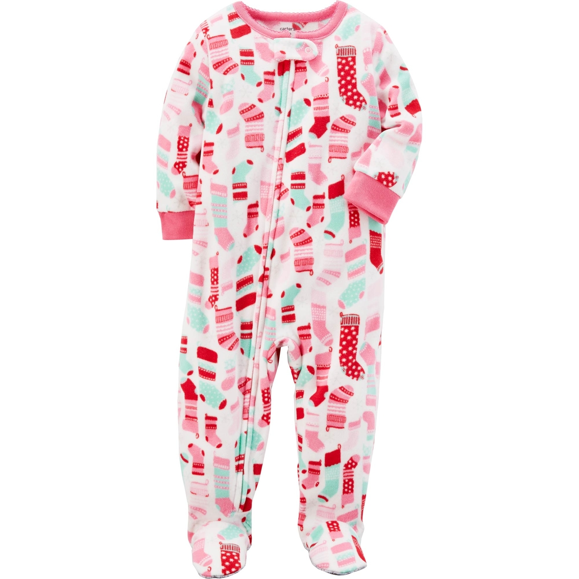 e57795da5415 Carter s Infant Girls Stocking Print Footed Pajamas