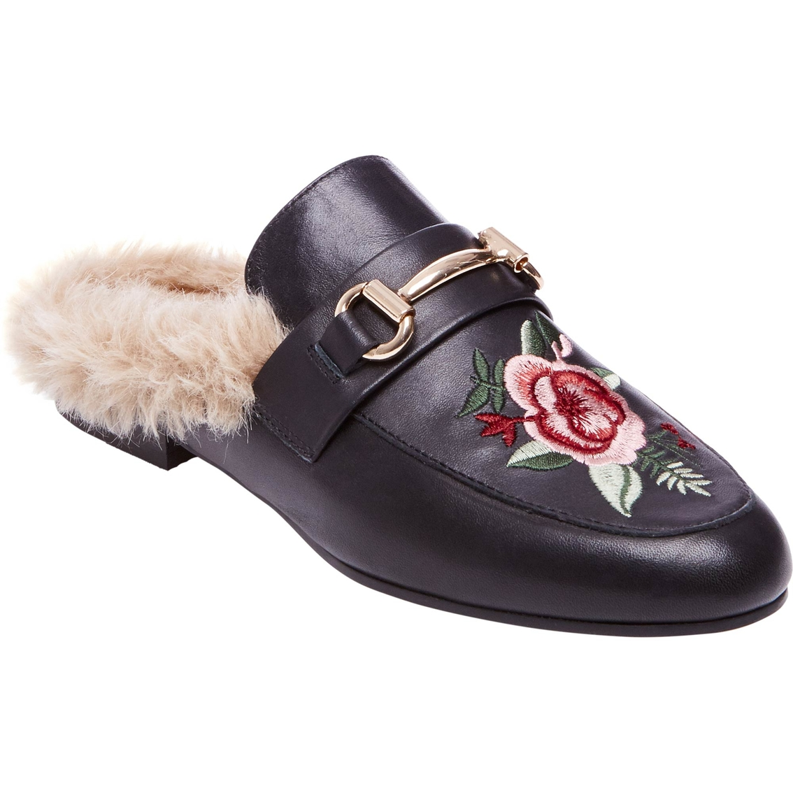 Steve Madden Jill Floral Patch Mule With Faux Fur