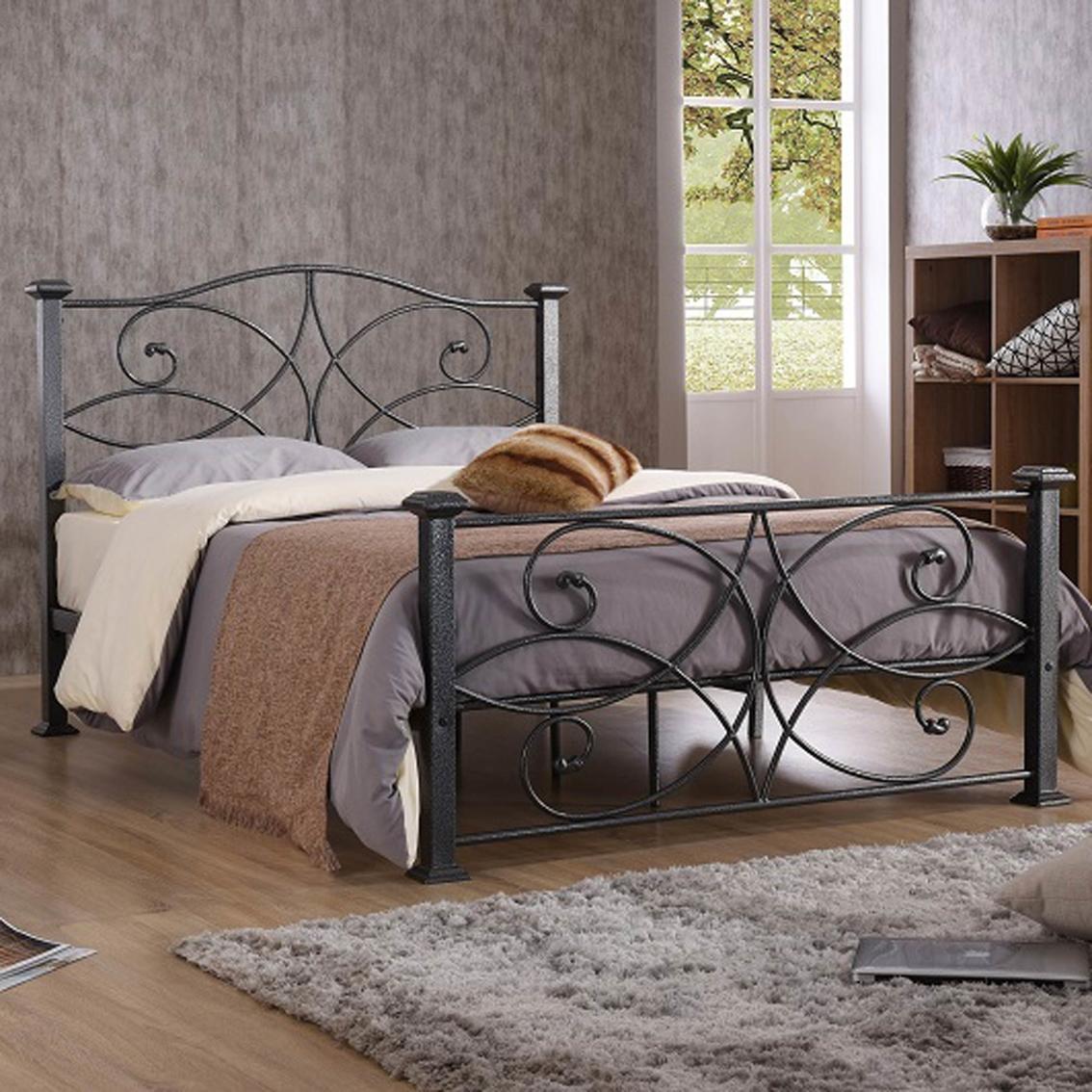 Hodedah Stunning Curvy Design Metal Bed Frame Beds Furniture Appliances Shop The Exchange