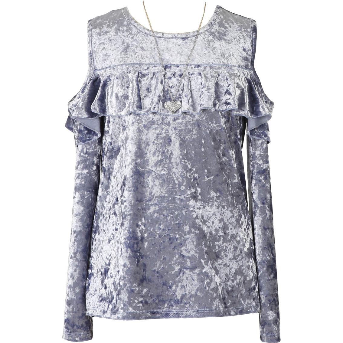 9ba7f1451 Speechless Girls Crushed Velvet Cold Shoulder Top With Necklace Trim ...