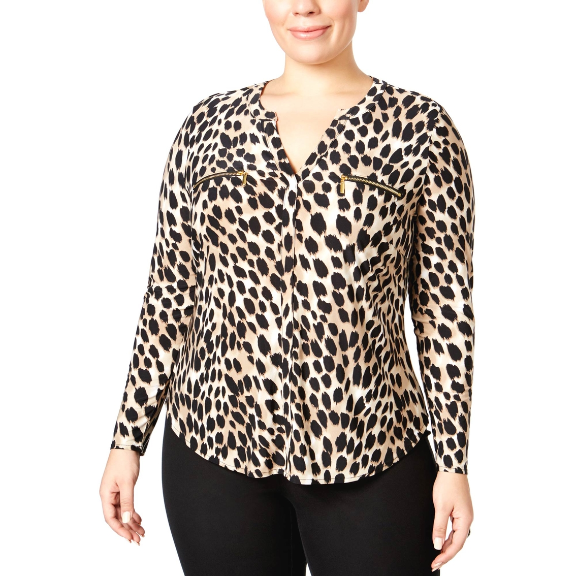 c9bfe536d0545 Inc International Concepts Plus Size Animal Print Blouse