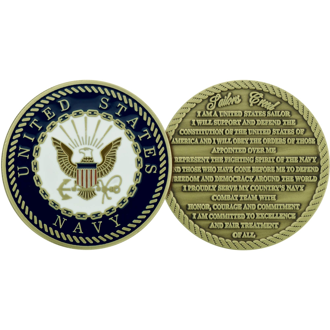 challenge coin navy usn sailor creed coin