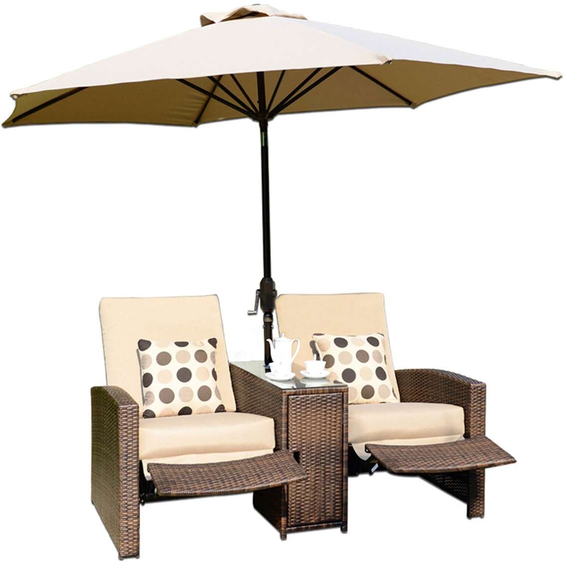 Sunmate Casual Villa Nova 2 Person Recliner With Center Table, Storage U0026  Umbrella