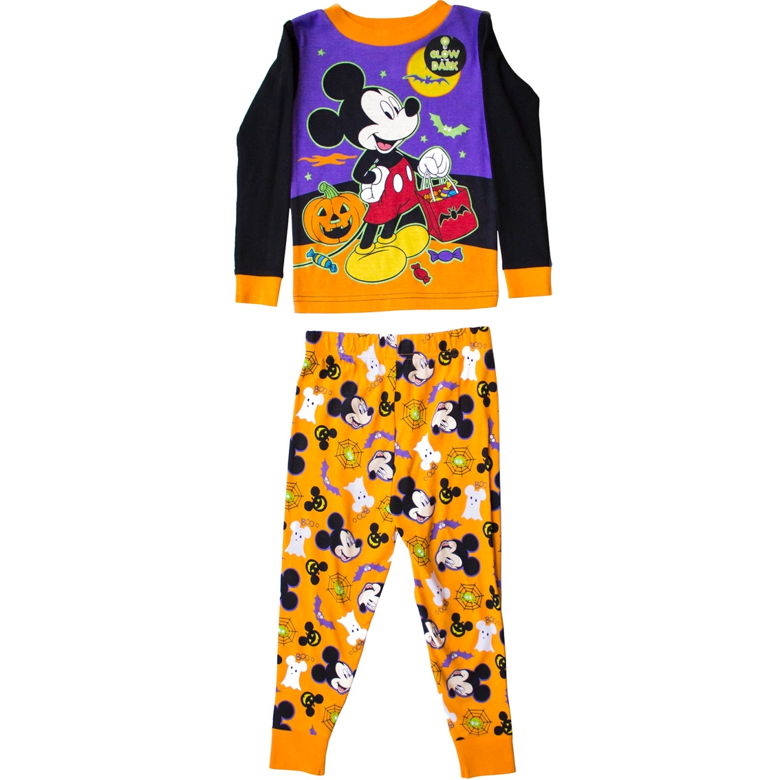 disney infant boys halloween 2 pc mickey mouse pajama set