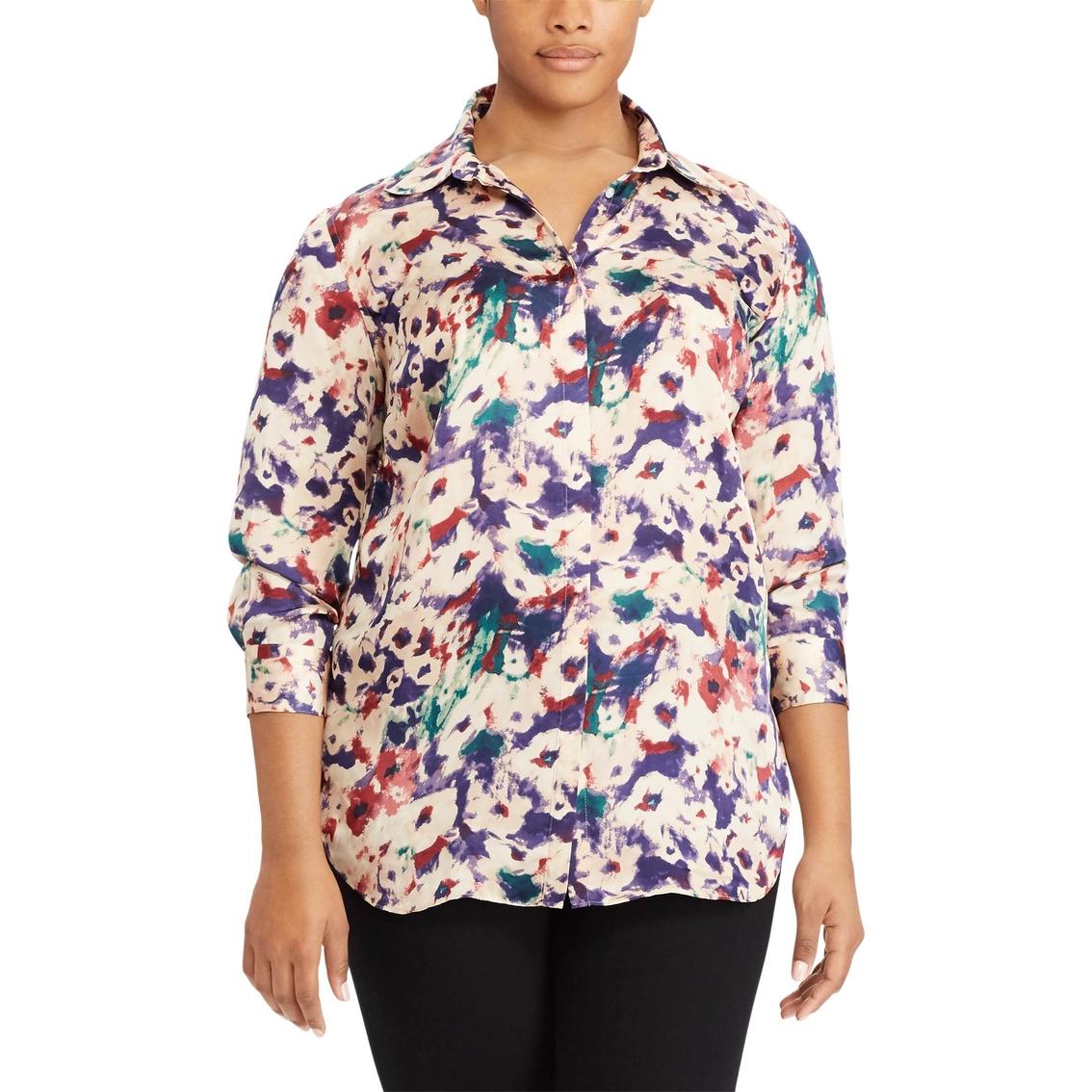 bcf741d4 Lauren Ralph Lauren Plus Size Kristy Floral Print Button Down Shirt ...