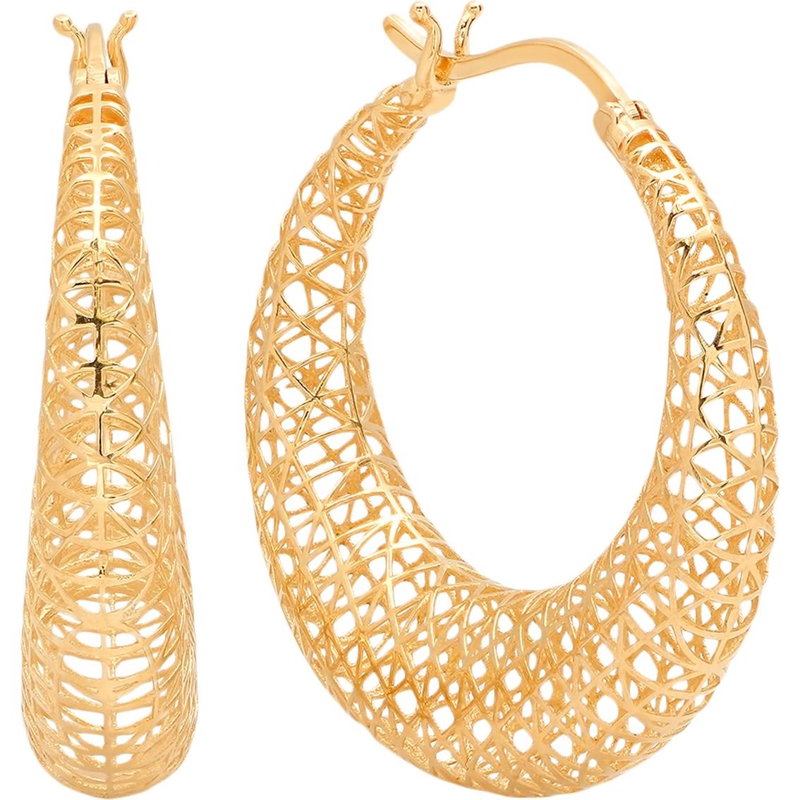 Real 14kt Yellow Gold Mesh Hoop Earrings