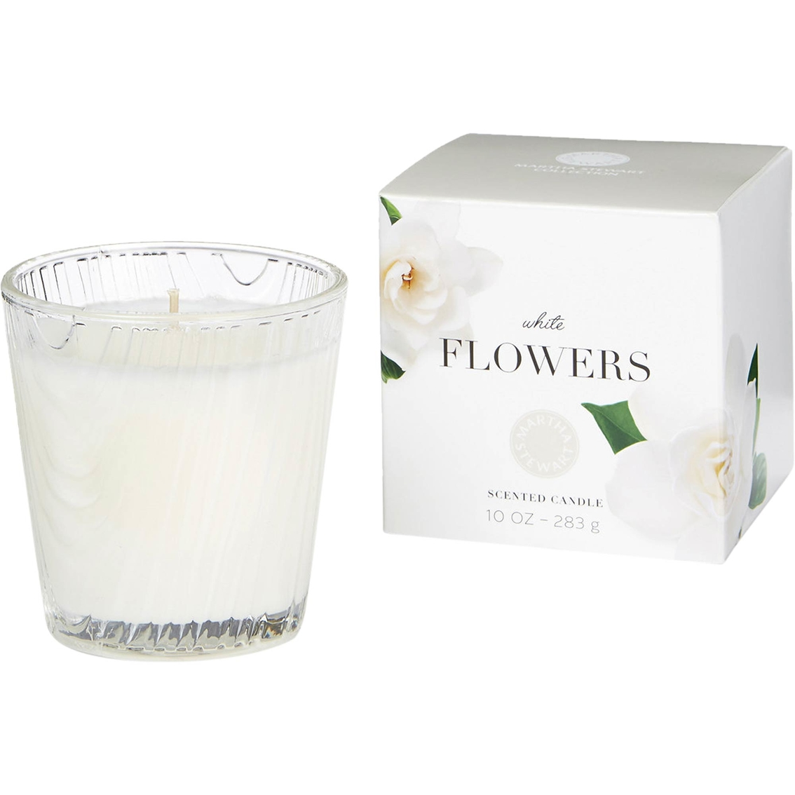 Martha Stewart Collection Large 10 Oz White Flowers Candle