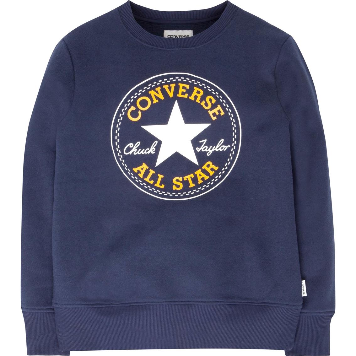 b35da5075c9f Converse Boys Chuck Patch Fleece Crew Neck Sweatshirt