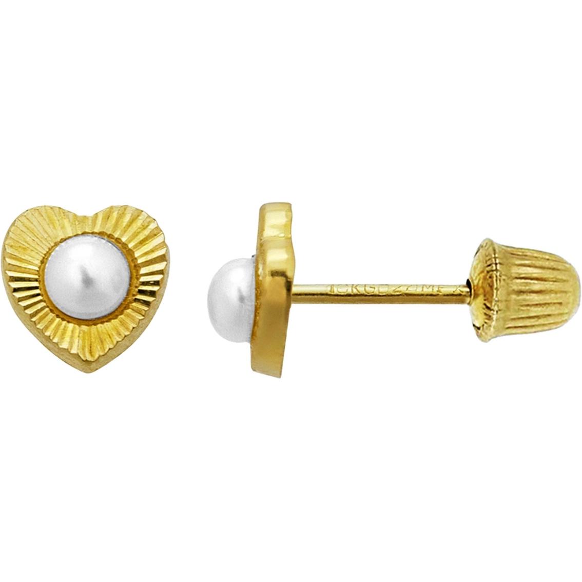 dc2531548 14k Gold Girls Freshwater Pearl Heart Screwback Stud Earrings ...