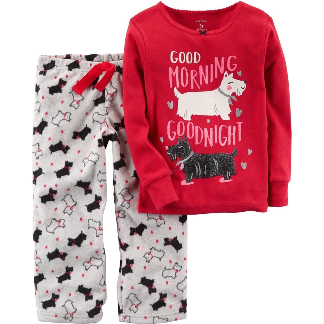 57aa4461e Carter's Little Girls 2 Pc. Scottie Dog Fleece Pajama Set   Girls 4 ...