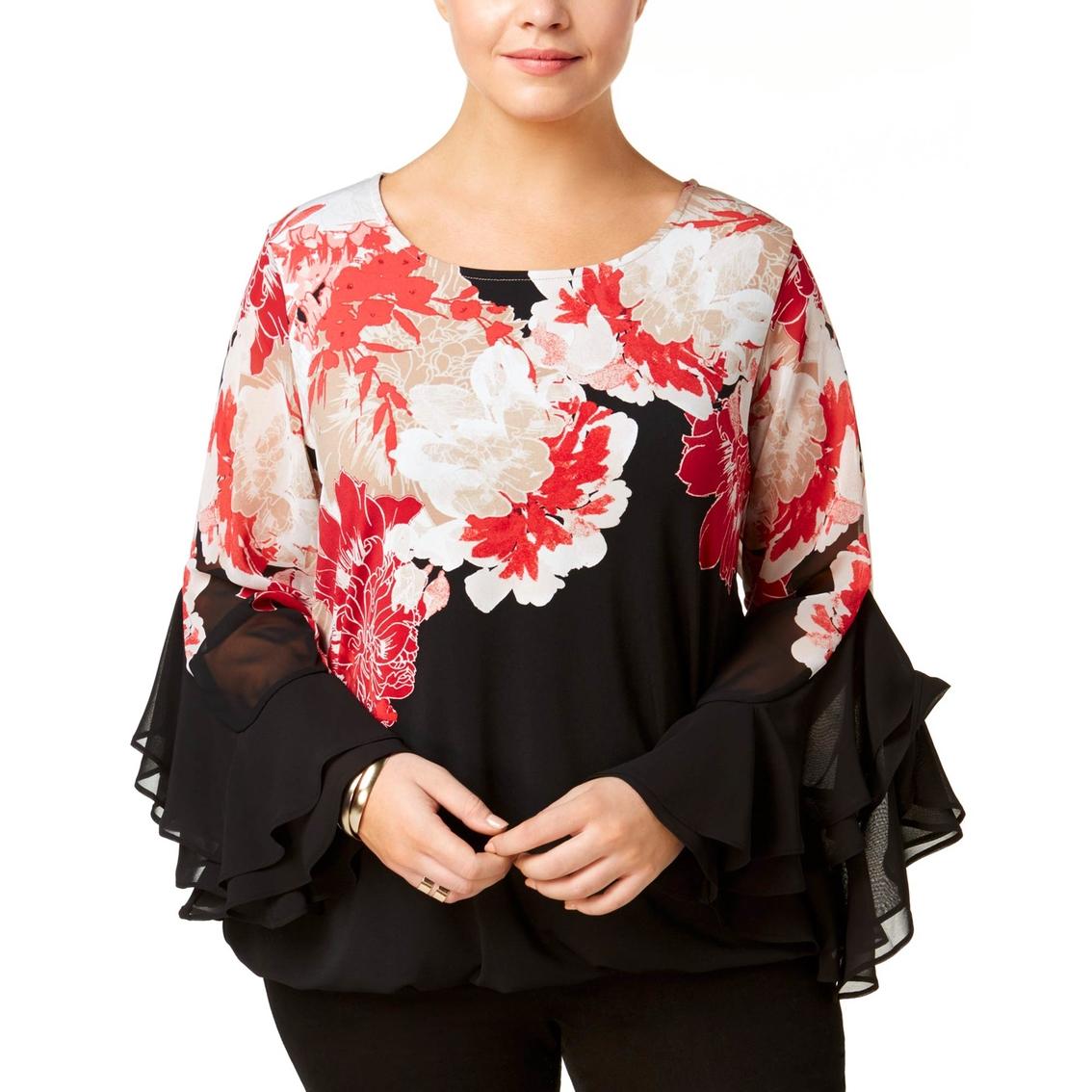 1223fd87762989 Alfani Plus Size Printed Ruffle Sleeve Top