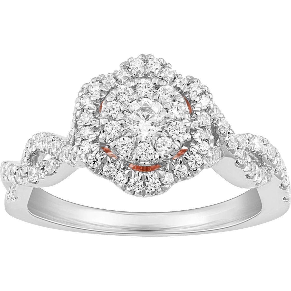 61fb4d28ef872 Disney Enchanted 14k White And Rose Gold 5/8 Ctw Diamond Belle Rose ...