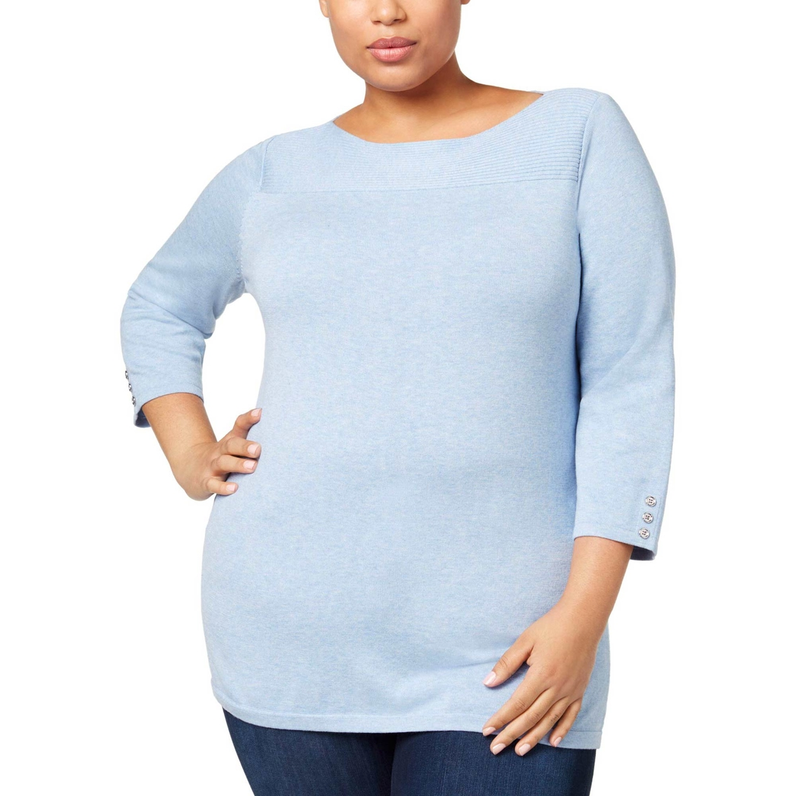 305cf1e0b3cc3 Karen Scott Plus Size Cotton Boat-neck Sweater