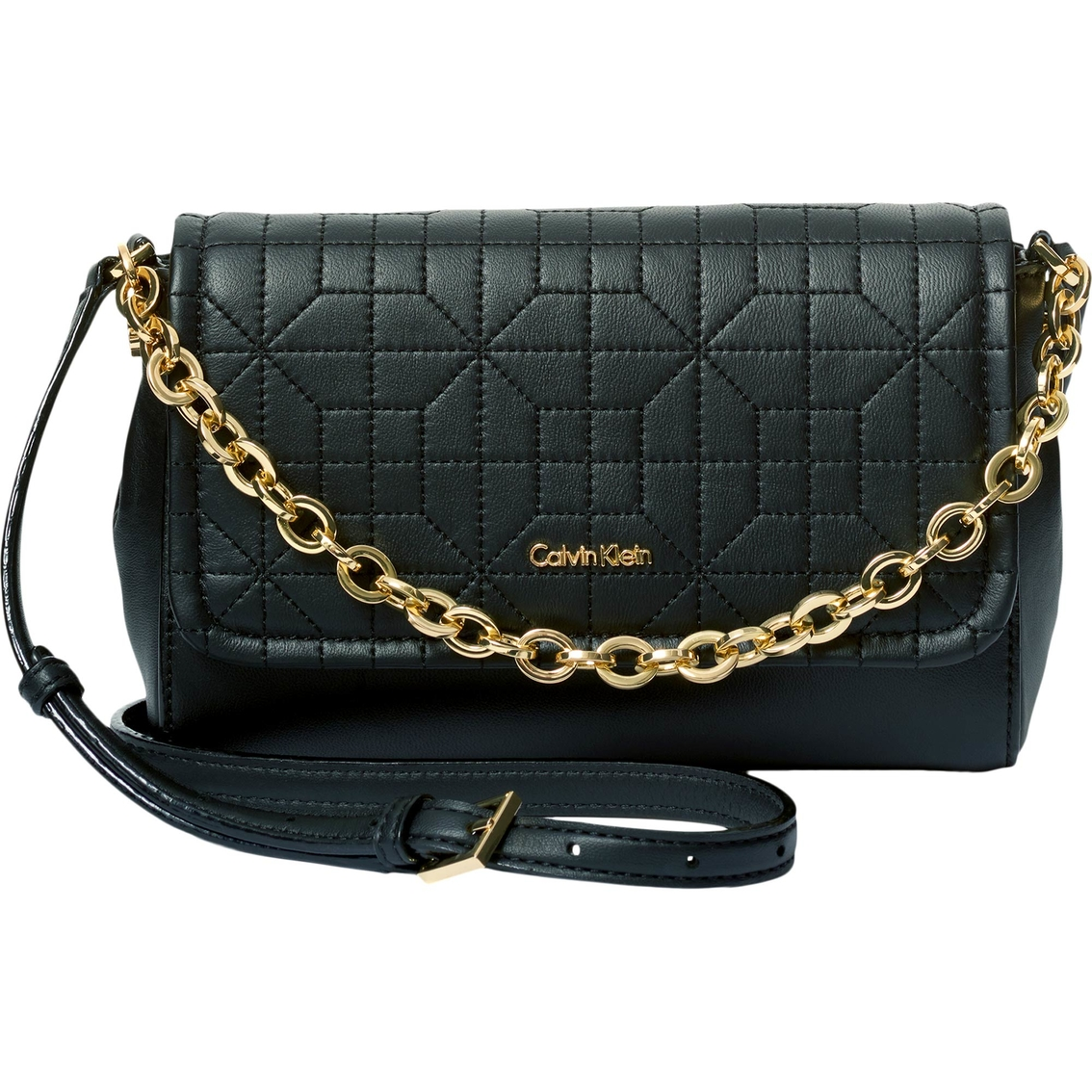 Calvin Klein Hera Quilted Pebble Leather Crossbody Handbag