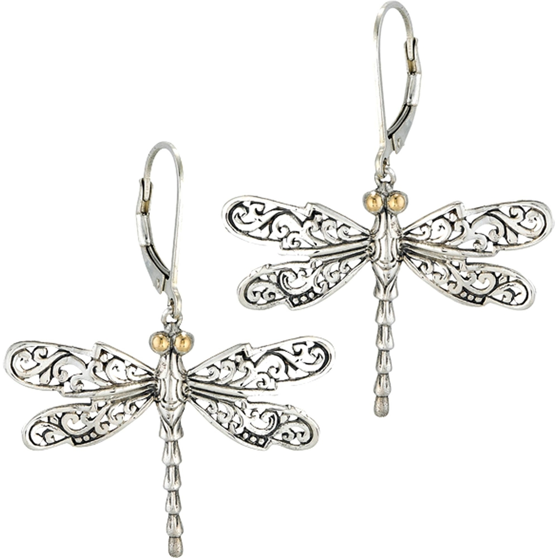 18k Yellow Gold Sterling Silver Bali Design Dragonfly Earrings With White Topaz