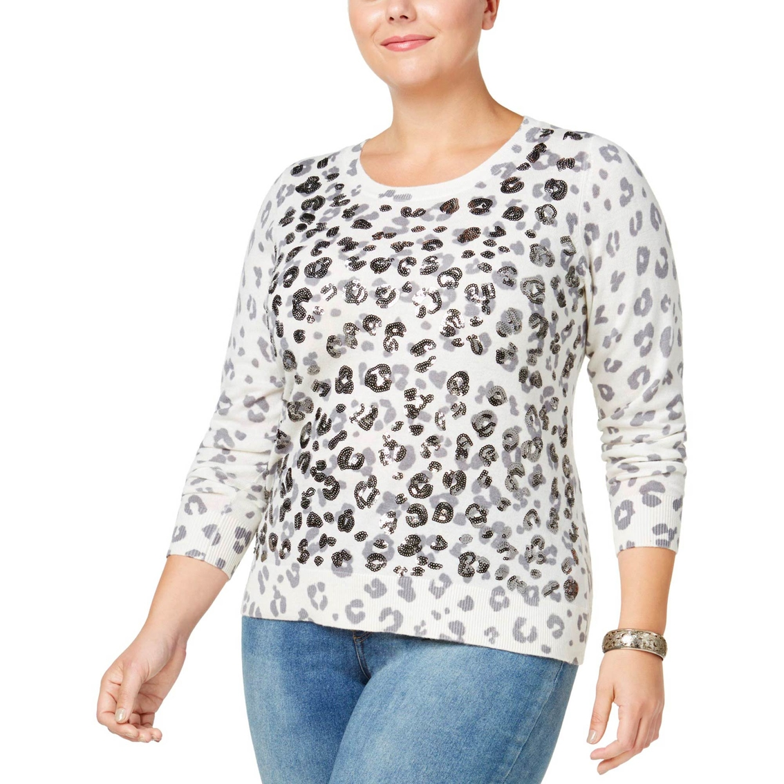 01653d4d2819 Inc International Concepts Plus Size Sequined Animal Print Sweater ...