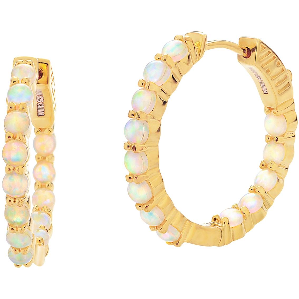 0de6ce6f0 18k Gold Over Sterling Silver Lab Created Opal Endless Hoop Earrings ...