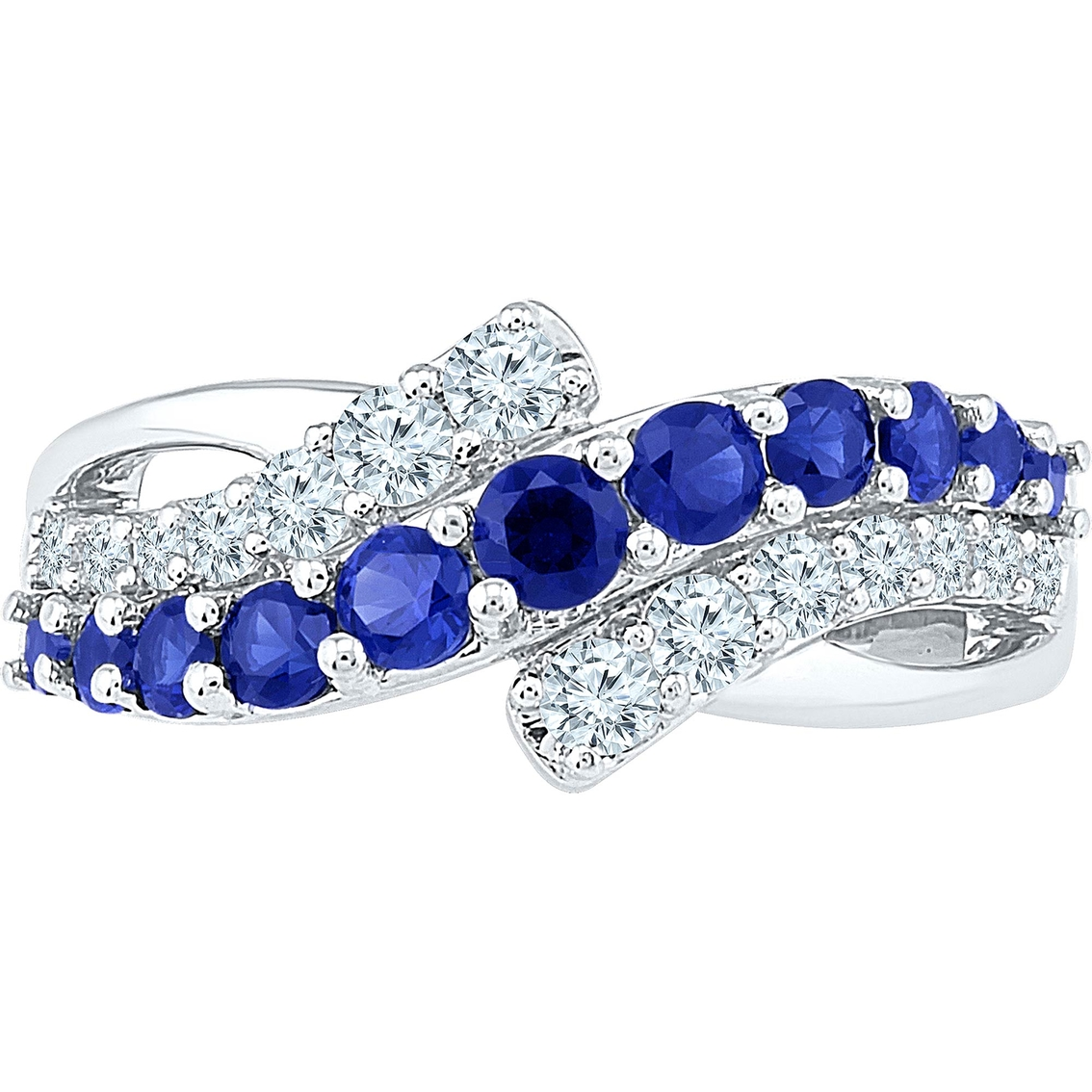 10k White Gold Lab Created Blue And White Sapphire Ring