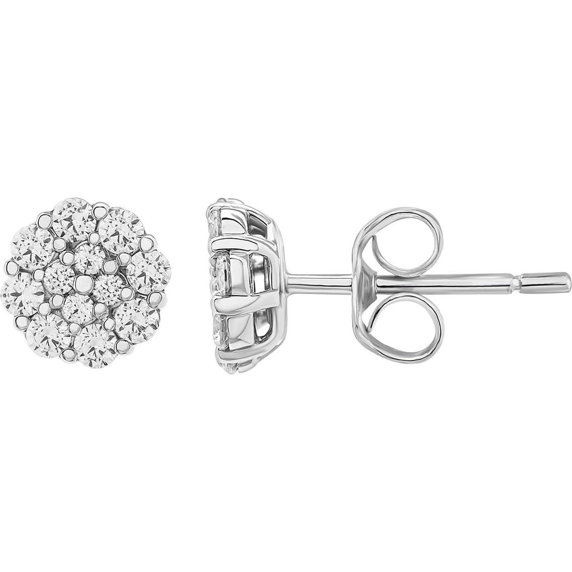 10k White Gold 1 2 Ctw Diamond Cer Stud Earrings